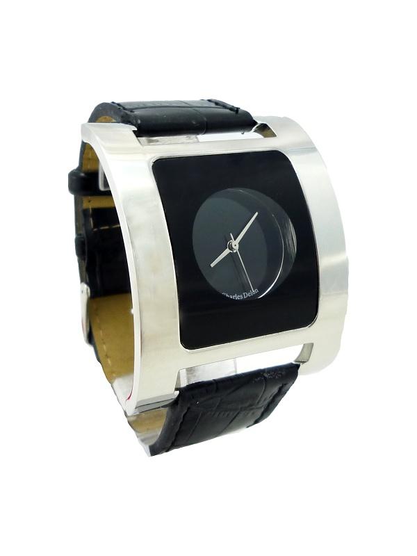 Dámské kožené hodinky DELON Charles Black silver 338D