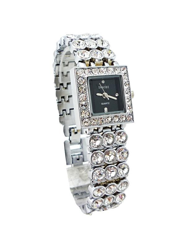Dámské hodinky s kamínky ERNEST Quartz SILVER black 365D