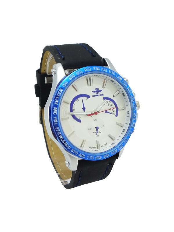 Pánské kožené hodinky MICHAEL JOHN Merely černé 130P