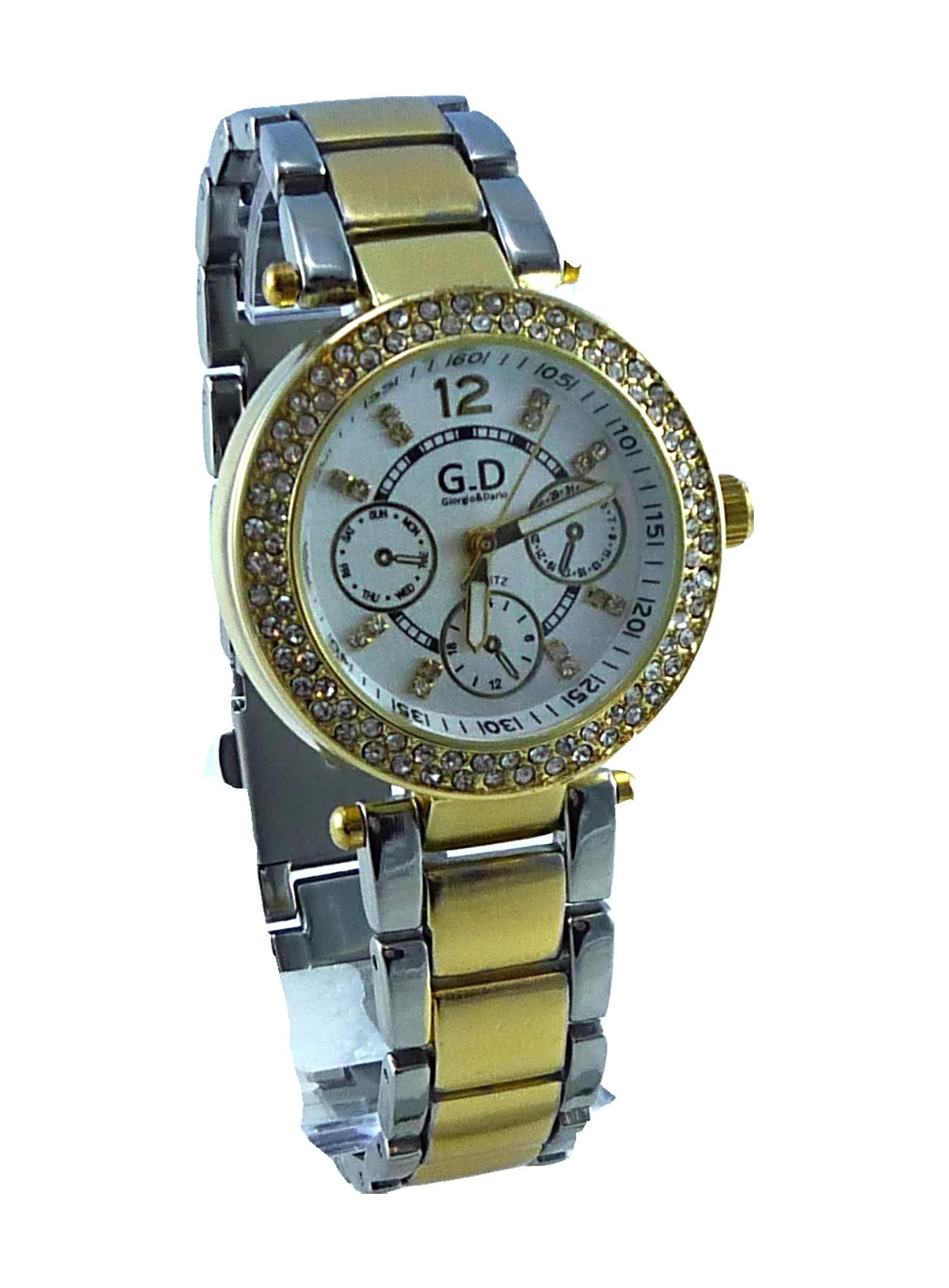 Dámské zlato-stříbrné hodinky GOLD Silver white GD 132D