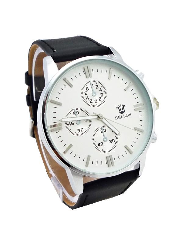 Pánské kožené hodinky Bellos Plainly černé 123P