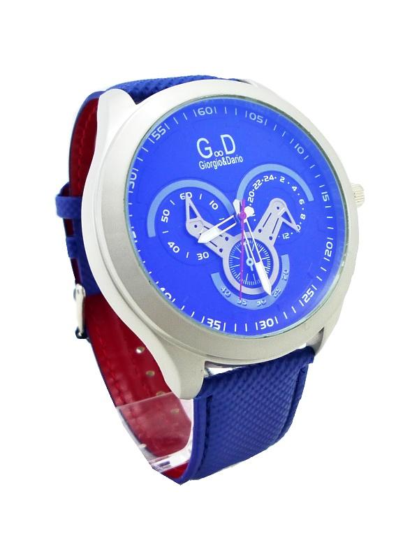 Pánské kožené hodinky G.D Genuine modré 111P