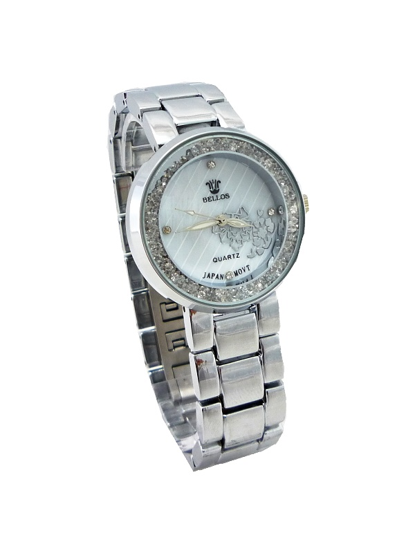 Dámské hodinky s kamínky Bellos Quatrz stříbrné 501ZD