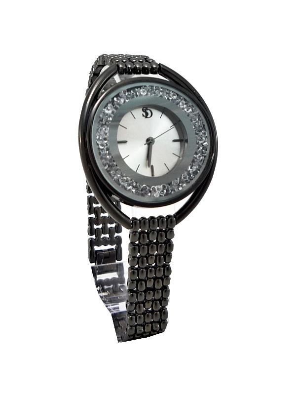 Dámské hodinky s kamínky S.D černé 438D
