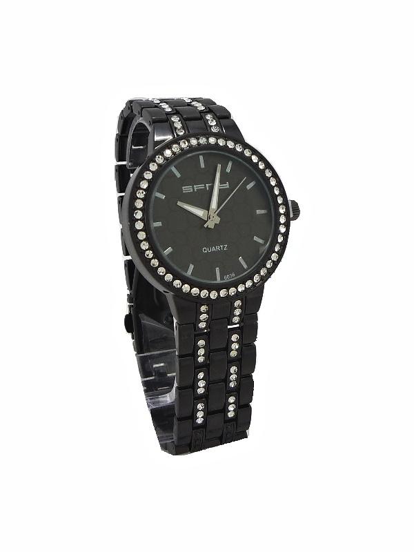 Dámské hodinky s kamínky SFNY černé 459ZD