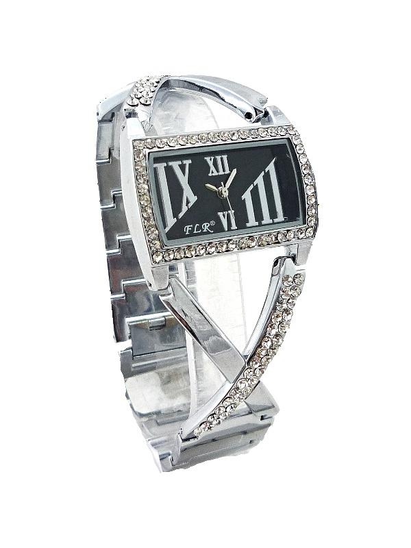 Dámské stříbrné hodinky ELEGANT silver black 110D