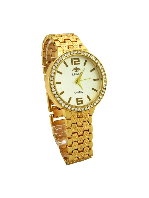 Dámské hodinky Realy Quartz zlaté 491ZD