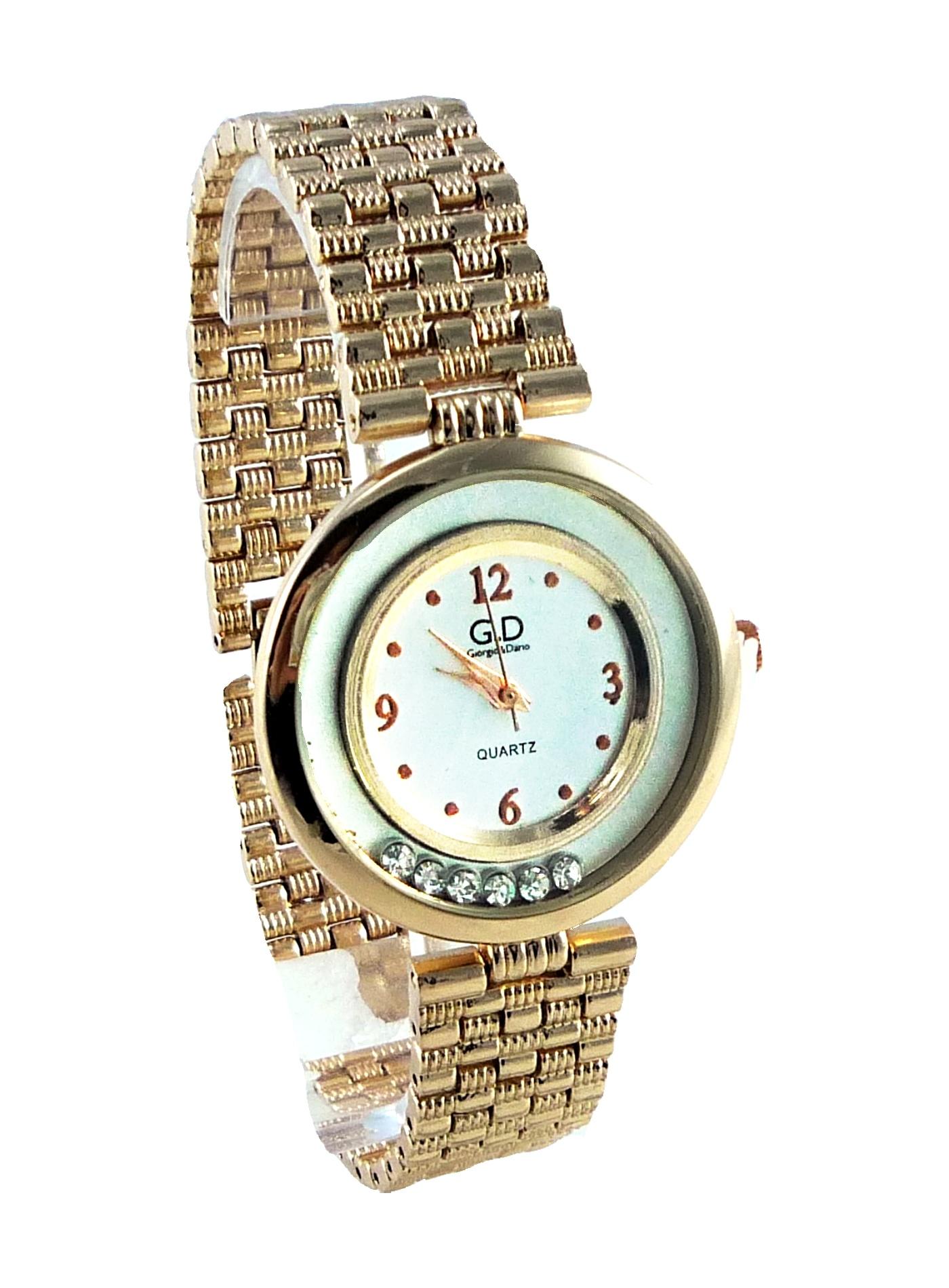 Dámské hodinky GD zlaté s plovoucími kamínky 054D