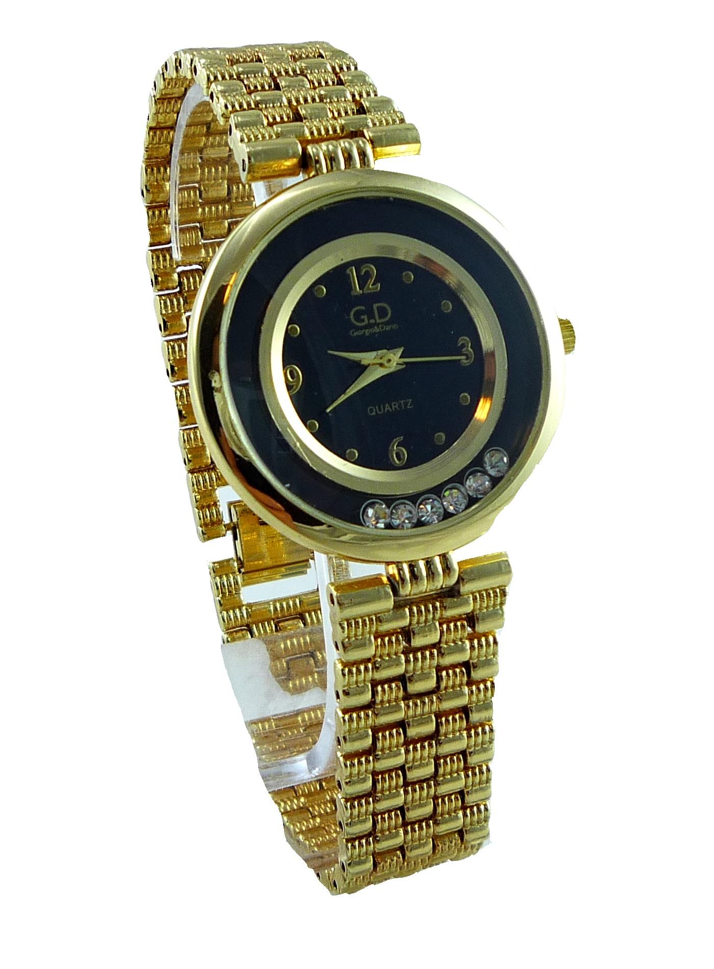Dámské hodinky G.D GOLD Black s kamínky 0157D