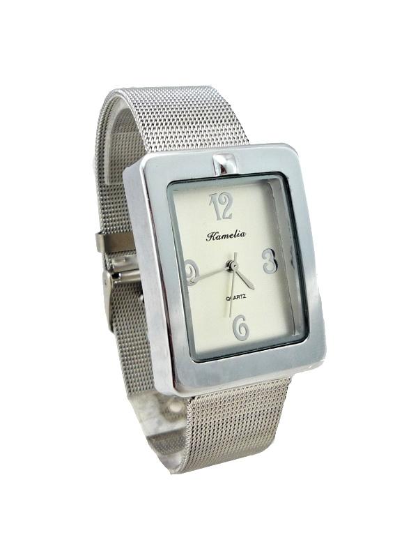 Dámské stříbrné hranaté hodinky KAMELIA silver 111D