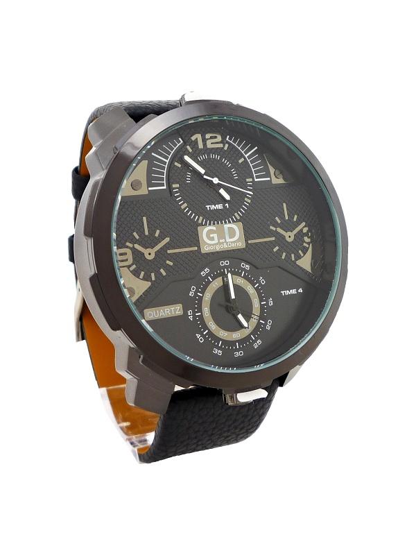Pánské kožené hodinky G.D Interesty černé 323P