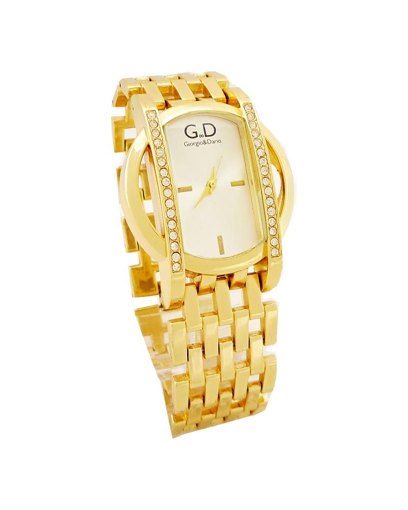 Dámské hodinky s kříšťály GD Extra zlaté 161D 43e3f1adcf