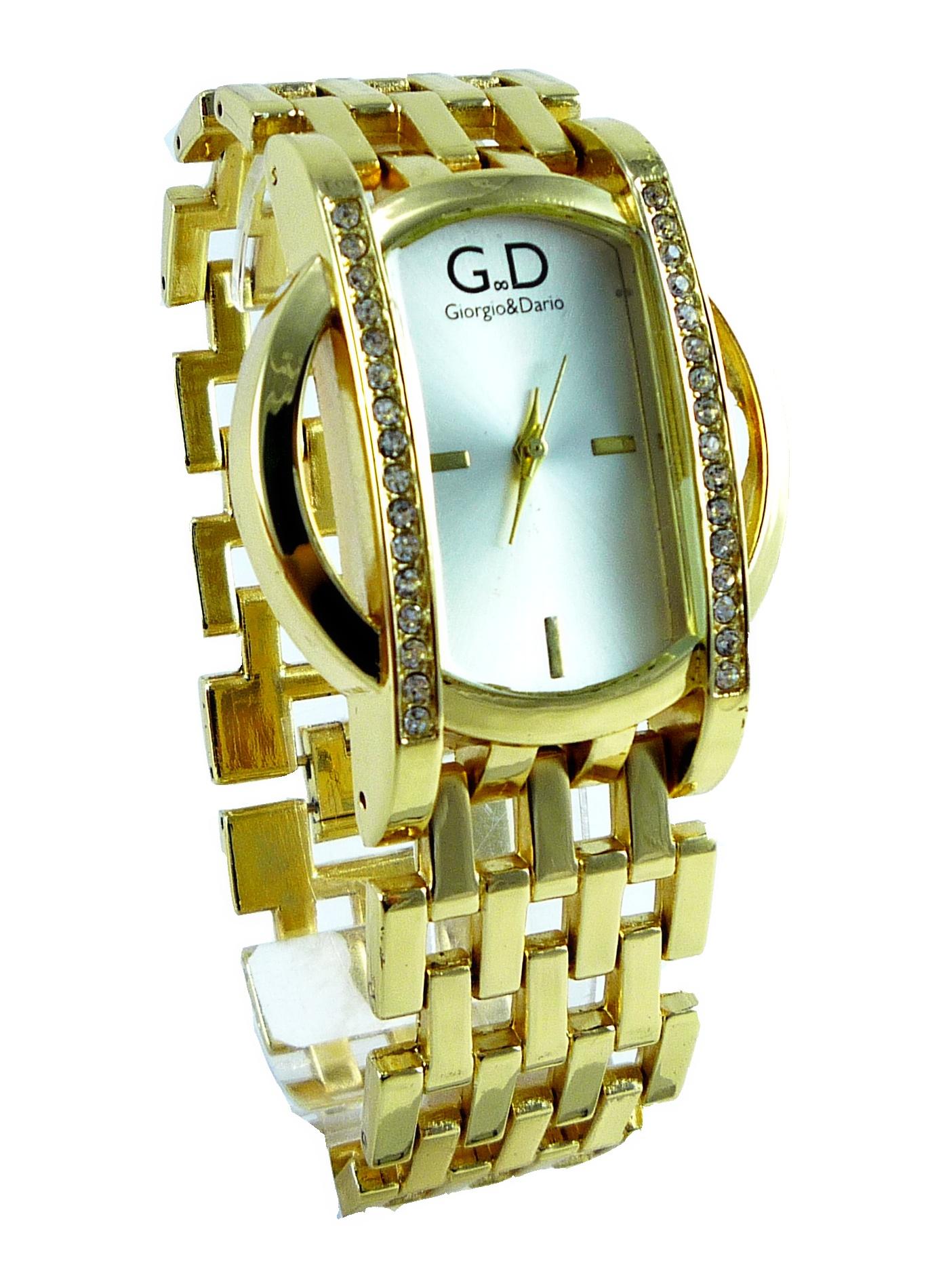 Dámské hodinky s kříšťály GD Extra zlaté 161D