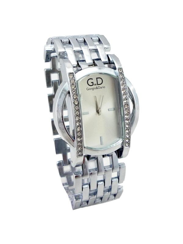 Dámské stříbrné hodinky s kříšťály GD silver extra 160D