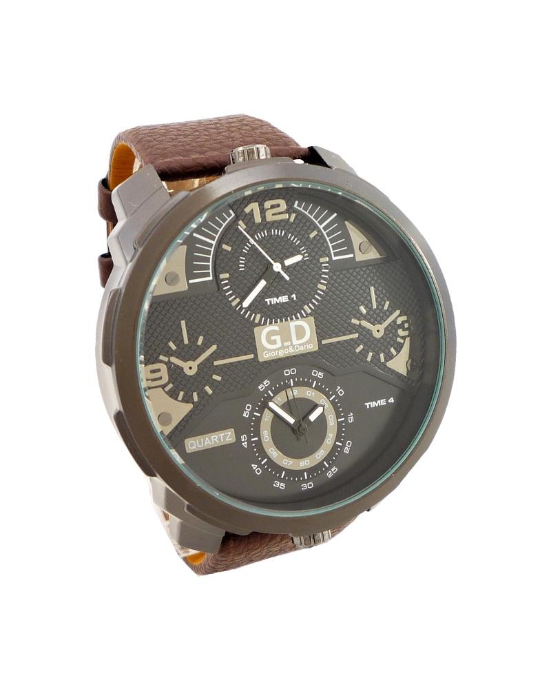 Pánské kožené hodinky G.D Interesty hnědé 339P