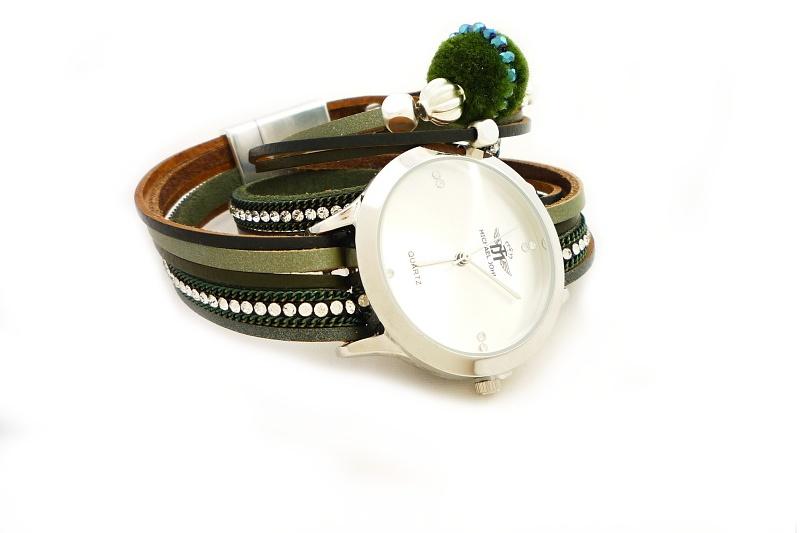 Dámské hodinky Michael John Ketty stříbrno-zelené 641D