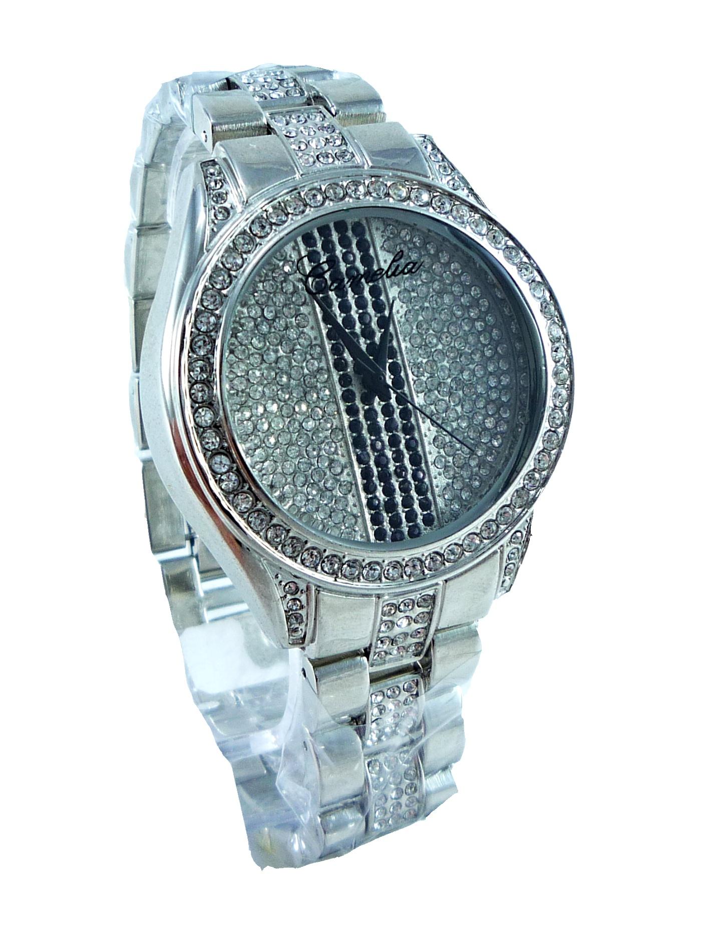 Dámské stříbrné hodinky se zirkony CAMELIA Silver 093D