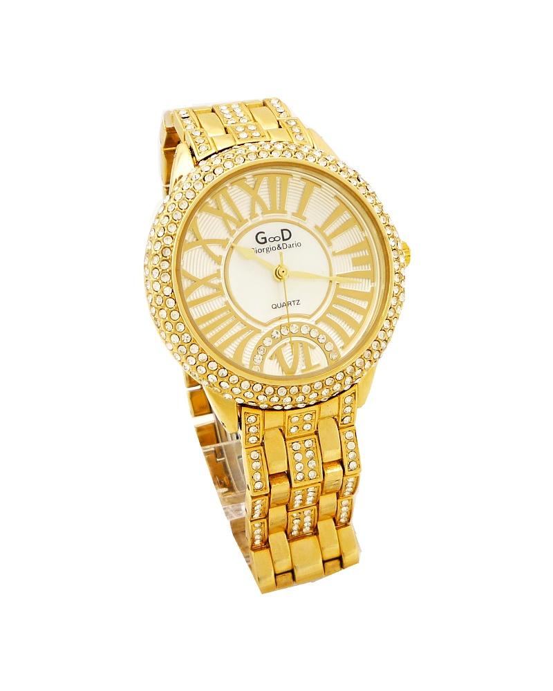 Dámské hodinky s křišťály GD zlaté 168D