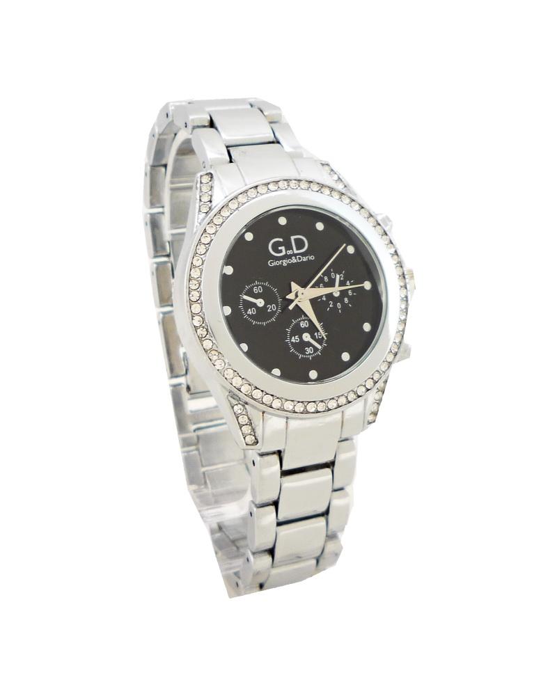 Dámské stříbrné hodinky s kamínky GD Silver black nice 444ZD