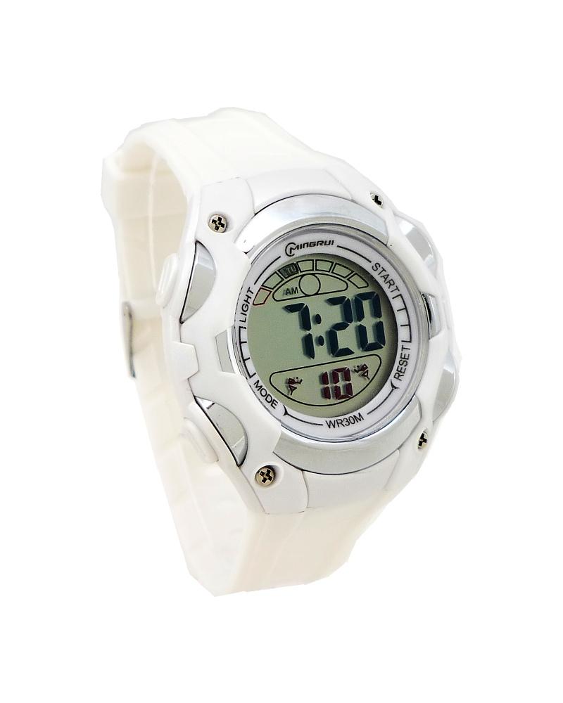 Digitální hodinky Polit Factor bílo-stříbrné 590D