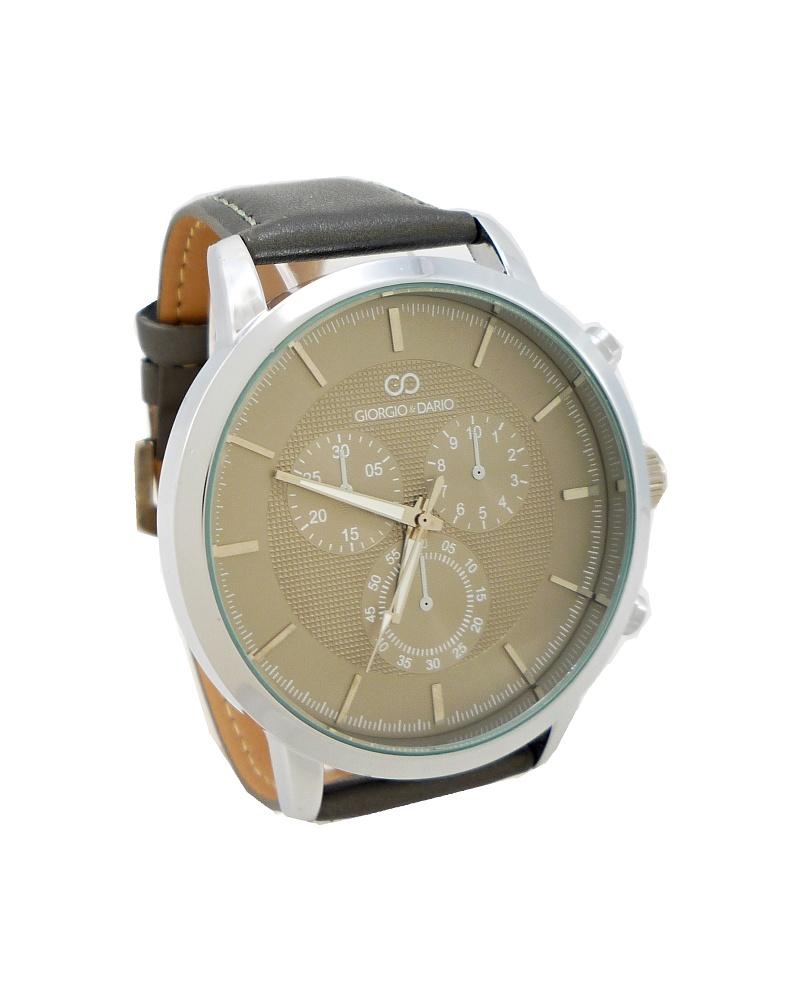 Pánské kožené hodinky Giorgio Dario Lain šedé 341P 87efae523f
