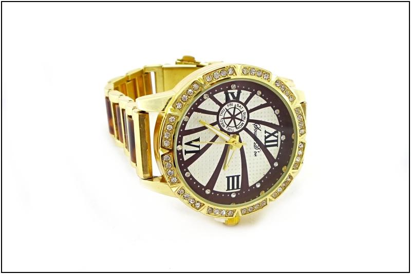 Dámské hodinky Douris Door zlato-hnědé 008D  9dcbac03fc6