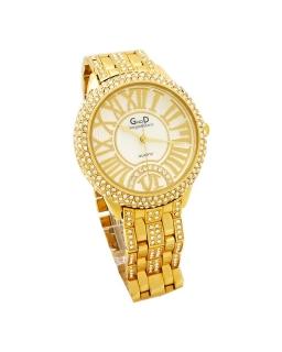 9065ca6cb9c Dámské hodinky s křišťály GD zlaté 168D